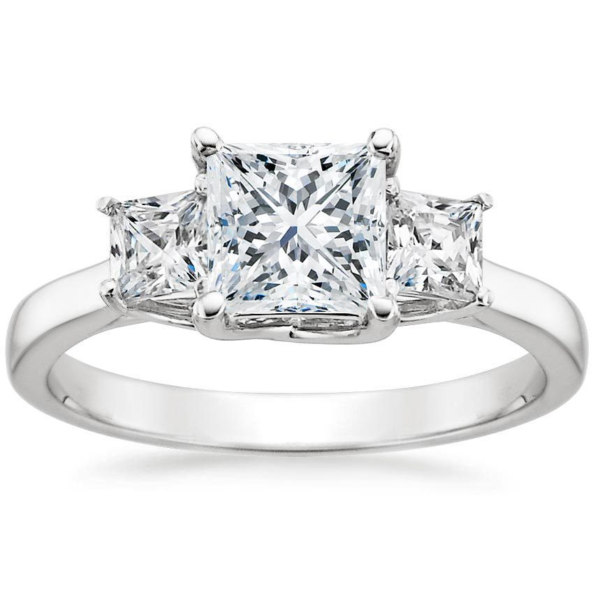 THREE STONE PRINCESS DIAMOND TRELLIS RING
